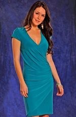 Panhandle Slim Womens V-Neck Wrap Dress - Turquoise