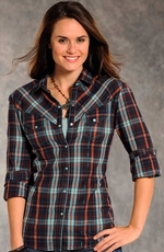 Panhandle Slim Womens Wild Card Plaid Snap Shirt - Turquoise