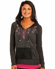 Panhandle Women's Long Sleeve Embroidered Lace Back Hoodie - Black