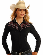 Panhandle Women's Long Sleeve Embroidered Snap Shirt - Black (Closeout)