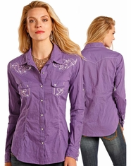 Panhandle Women's Long Sleeve Embroidered Snap Shirt - Purple