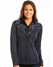 Panhandle Women's Retro Long Sleeve Embroidered Snap Shirt- Blue