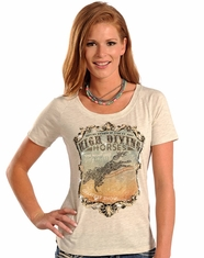 Panhandle Women's Short Sleeve Graphic Print Top - Grey