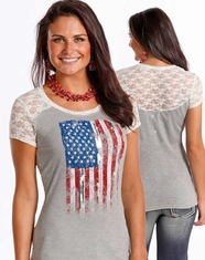Panhandle Women's Short Sleeve Flag Graphic Print Top - Grey