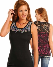 Panhandle Women's Sleeveless Beaded Top - Black