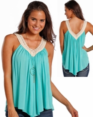 Panhandle Women's Sleeveless Crinkle Top- Aqua