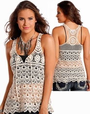 Panhandle Women's Sleeveless Crochet Tank Top - Natural