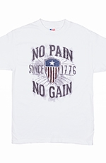 "PBR Mens ""No Pain, No Gain"" Tee Shirt - White"