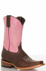 Pecos Bill Children's Square Toe Cowboy Boots - Pink/ Brass