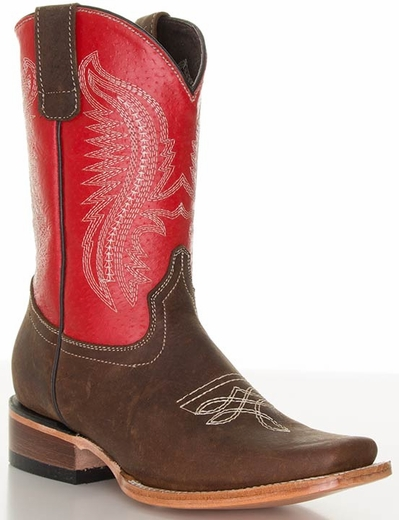 Pecos Bill Children's Square Toe Cowboy Boots - Red/ Brass