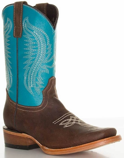 Pecos Bill Children's Square Toe Cowboy Boots - Turquoise/ Brass