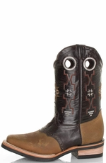 Pecos Bill Men's Southwest Square Toe Cowboy Boots with Saddle Vamp - Brown (Closeout)