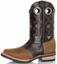 Pecos Bill Men's Southwest Square Toe Cowboy Boots with Saddle Vamp - Brown