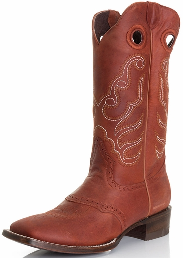 Pecos Bill Mens Square Toe Cowboy Boots - Cognac Crazy