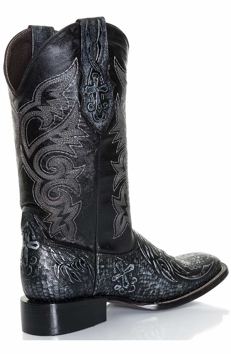 Pecos Bill Mens Embossed Cross Square Toe Boots - Black/Silver