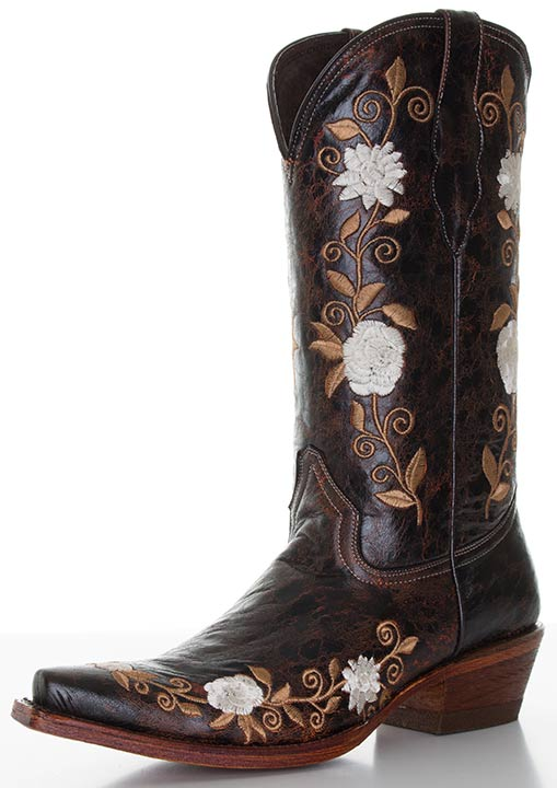 "Pecos Bill Women's 12"" Cowboy Boots with Floral Embroidery - Brown"