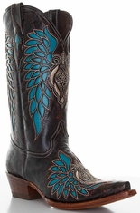 "Pecos Bill Women's 12"" Cowboy Boots with Turquoise Inlay - Brown"