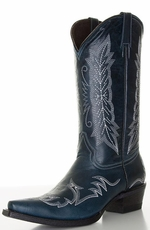 "Pecos Bill Women's 12"" Fancy Cowboy Boots with Contrast Embroidery - Navy"