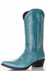 "Pecos Bill Women's 12"" Fancy Cowboy Boots with Contrast Embroidery - Turquoise (Closeout)"