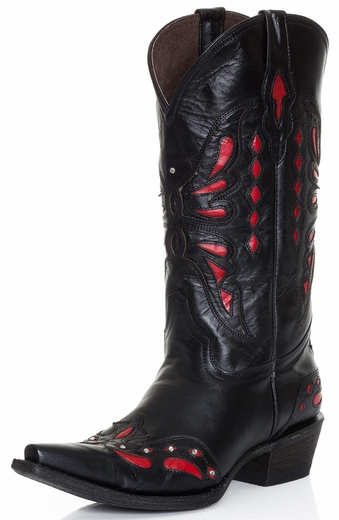 Pecos Bill Womens Fancy Butterfly Cowboy Boots - Black