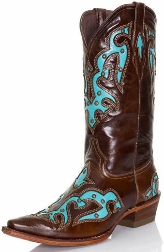 Pecos Bill Womens Studded Turquoise Inlay Cowboy Boots - Brown