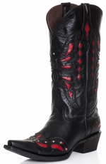 Pecos Bill Womens Fancy Butterfly Cowboy Boots - Black (Closeout)
