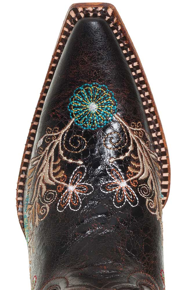 Pecos Bill Womens Fancy Flower Embroidered Cowboy Boots - Brown/Multi