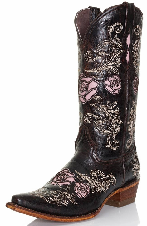 Pecos Bill Womens Fancy Flower Underlay Cowboy Boots - Dark Brown/Pink