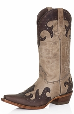 Pecos Bill Womens Fancy Studded Cross Cowboy Boots - Brown Sierra (Closeout)