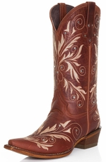 Pecos Bill Womens Fancy Stitched Studded Cowboy Boots - Pecan