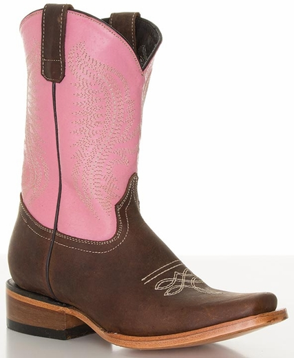 Pecos Bill Youth Square Toe Cowboy Boots - Pink/ Brass