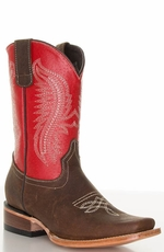 Pecos Bill Youth Square Toe Cowboy Boots - Red/ Brass