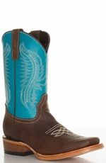 Pecos Bill Youth Square Toe Cowboy Boots - Turquoise/ Brass