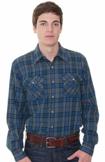 Pendleton Men's Kingston Button Down Western Plaid Shirt - Green/ Navy (Closeout)