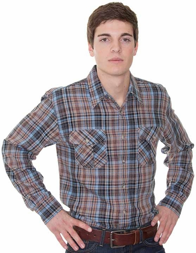 Pendleton Men's Kingston Button Down Western Plaid Shirt - Tan/ Brown/ Blue (Closeout)