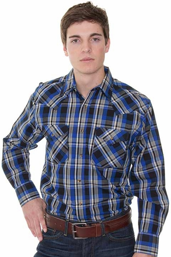 Pendleton Men's Long Sleeve Frontier Western Snap Shirt - Blue/ Black (Closeout)