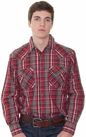 Pendleton Men's Long Sleeve Frontier Western Snap Shirt - Red/ Black (Closeout)