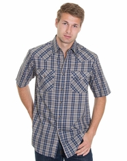 Pendleton Men's Short Sleeve Frontier Plaid Shirt - Blue/Cream