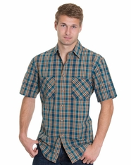 Pendleton Men's Short Sleeve Santiam Plaid Shirt - Turquoise/Tan (Closeout)