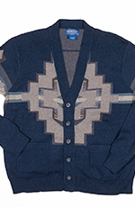 Pendleton Mens Jacquard Cardigan - Blue Cave Creek (Closeout)