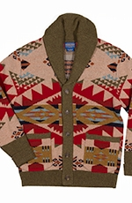 Pendleton Mens Journey West Shawl Cardigan - Tan/Red