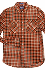 Pendleton Mens Long Sleeve Burnside Western Shirt - Orange/Bronze (Closeout)
