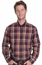 Pendleton Mens Long Sleeve Canterbury Western Shirt - Navy/Red