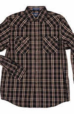 Pendleton Mens Long Sleeve Frontier Plaid Western Shirt - Brown/Black (Closeout)