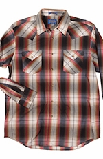 Pendleton Mens Long Sleeve Frontier Plaid Western Shirt - Red/Black (Closeout)