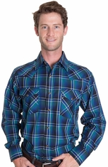 Pendleton Mens Long Sleeve Frontier Snap Western Shirt - Bright Blue/Black/Turquoise (Closeout)