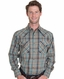Pendleton Mens Long Sleeve Frontier Snap Western Shirt - Turquoise/Blue (Closeout)