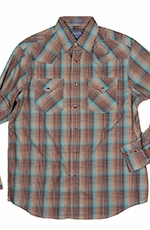 Pendleton Mens Long Sleeve Frontier Western Shirt - Aqua/Brown (Closeout)