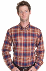 Pendleton Mens Long Sleeve Oceanside Western Shirt - Blue/Red/Tan