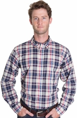 Pendleton Mens Oceanside Button Down Western Shirt - Blue/Raspberry (Closeout)